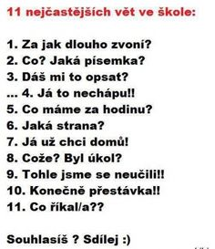 Nejčastější věty ve škole   Vtipné obrázky - obrázky.vysmátej.cz