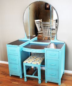 How to refinish old furniture.  I love the look off bright colors with the feel of vintage furniture