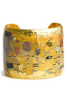 "Évocateur 'The Kiss' Cuff  ||  Brilliant 22-karat gold leaf frames an Gustav Klimt's ""The Kiss"" print on a romantic cuff accented with pale-yellow Swarovski crystals.  (Out of stock at Nordstrom.)"