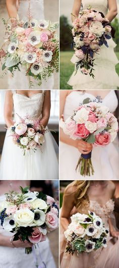 navy blue and pink bridal bouquets ideas