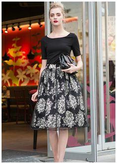cc9bae55622 Floral Printed Midi Skirt with mesh overlay + Top