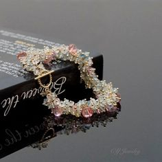 Made To Order Pink Topaz and Aquamarine Cluster Bracelet, Gemstone Cluster Bracelet #B201