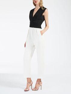 Combinaison en mousseline et cady, noir - APICE Max Mara Max Mara, Jumpsuits For Women, Cool Outfits, Capri Pants, Fall Winter, Chiffon, Clothes, Collection, Primavera Estate
