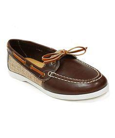Brown & Beige Fabric Block Boat Shoe