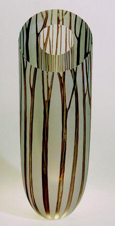 glass vase, brown, trees. artist katherine coleman