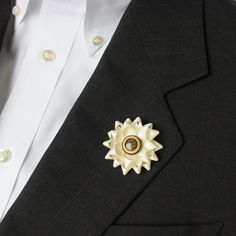Mens Lapel Flower Unique Lapel Flower Lapel Flower for Men Mens Buttonhole Flower Mens Accessories Dapper Wood Center Wooden Detail