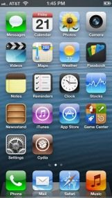 First screenshots of a jailbroken iPhone 5. Jailbreaking allows users to add Homebrew apps to the iPhone and is a method to install pirated apps onto an activated iPhone.
