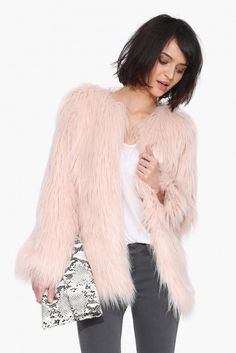 Cassie Faux Fur Jacket in Blush | Necessary Clothing