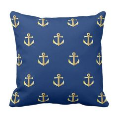 Chic Faux Gold Nautical Anchors Pattern Throw Pillow.  Beautiful contemporary shiny looking gold colored vintage anchor pattern on a dark blue background. Made for the the sailor, boater, water sport, boating, sailing, ocean or sea lover. But also for the hip vintage retro art style lover. Cute, fun, classy and fashionable decor items for the master or children's bedroom, nursery, living or family room, RV or camper, boat or yacht, lake or river home.