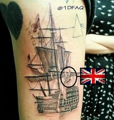 OMG. This tattoo is legit amazing though! And yes. Having the Union jack in it is also cool (; #HarrysTattoos