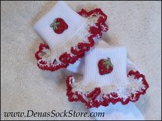 Boutique OOAK Red Hearts Ribbon and Lace Ruffle Socks