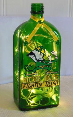 Notre Dame Fighting Irish Jagermeister Bottle Lamp on Etsy, $25.00