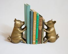 Amazing Vintage Brass Pig Bookends Library Decor Farm house ($74.00) - Svpply