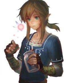 Link observando un hada