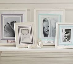 Harper Gallery Frames Mats #PotteryBarnKids  LOVE the baby's hand and foot print framed with the pics!!