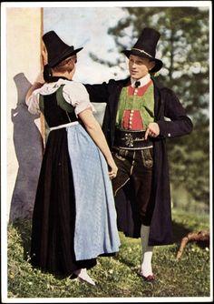 Ansichtskarte / Postkarte Junges Paar in osttiroler Tracht, Lederhose, Dirndl European Costumes, Country Wear, Heart Of Europe, Lederhosen, Folk Fashion, Traditional Outfits, Austria, Most Beautiful, Poster