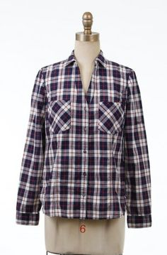 Navy and Wine Plaid Shirt. http://thelineboutique.com/