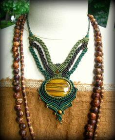 1点物*自己実現の石*大きなタイガーアイのマクラメ編みデザインネックレス - Tuwa Earth Crafts