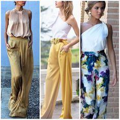 Ideas wedding guest trousers fashion for 2019 Casual Dresses, Casual Outfits, Fashion Outfits, Two Piece Jumpsuit, Moda Formal, Wedding Guest Looks, Pantalon Large, Yellow Pants, Dress To Impress