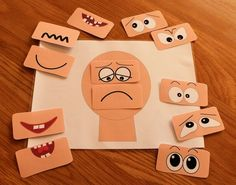 This Make a face resources has 12 different sets of eyes and mouths and a set of emotions vocabulary flash cards. Help children to learn about emotions. Emotions Game, Emotions Preschool, Emotions Activities, Feelings And Emotions, Learning Activities, Preschool Activities, Teaching Resources, Teaching Emotions, Dinosaur Activities