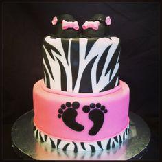 Hot Pink U0026 Zebra Print Baby Shower Cake! Www.facebook.com/Rachel