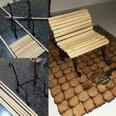Mini banco de praça pra jardim de fadas. Feito pela artesã Lene Barros ( insta coisamiúdaarte )