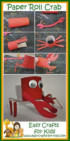 Make this easy crab craft using toilet paper rolls! He is the perfect summer craft for kids who love going to the beach. Beach Crafts For Kids, Summer Crafts For Toddlers, Animal Crafts For Kids, Paper Crafts For Kids, Toddler Crafts, Easy Crafts, Toilet Paper Art, Toilet Paper Roll Crafts, Plywood Furniture