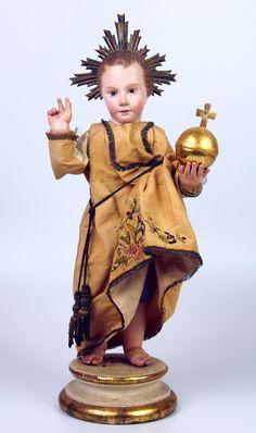 niño jesús. talla en madera. cap-i-pota. ojos d - Comprar Escultura Religiosa Antigua en todocoleccion - 49414853