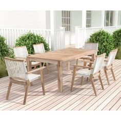 Outdoor Zuo Vive West Point Teak 7 Piece Patio Rectangle Dining Set    ZMC2942