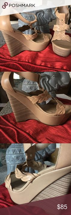 Beautiful wedge 🧀 shoes!!! Gorgeous shoe. Platform and wedge sole. Gently worn, maybe three times at most. About 1 1/4 inch platform with 4 1/2 wedge. 3 braids cover the front of the shoe as it's design. BCBGeneration Shoes Platforms