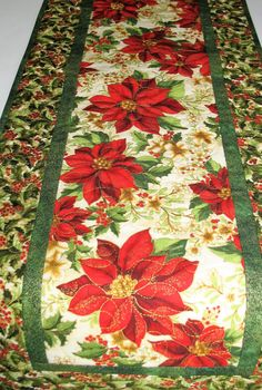 Christmas Table Runner with Poinsettias, from Kaufman Holiday Flourish by Peggy Toole by PicketFenceFabric on Etsy