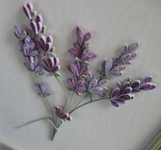 Quilled Lavender by all things paper, with tip for making backgrounds for framing