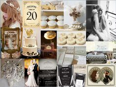 Art Nouveau/Art Deco Wedding - love the jeweled bridal bouquet and table numbers and the record player