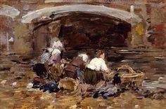 Laundresses near a Bridge - Eugene Boudin .. Completion Date: c.1887