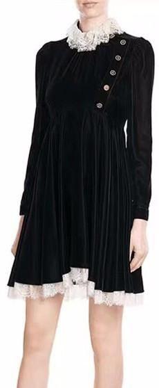 Black Embellished Lace-Trimmed Velvet Mini Dress
