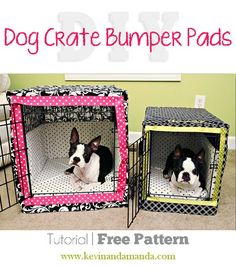 Dog Crate Bumper Pads Sewing Pattern - DIY dog create covers - make your own crate cover Diy Spring, Dog Crate Cover, Pekinese, Fu Dog, Dog Crafts, Animal Projects, Diy Stuffed Animals, Dog Accessories, Fur Babies