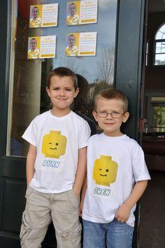Lego Head Iron Ons for Shirt. Lego Birthday Party, Birthday Shirts, Birthday Ideas, 8th Birthday, Lego Shirts, Kids Shirts, Lego Baby, Lego Head, Family Vacation Shirts