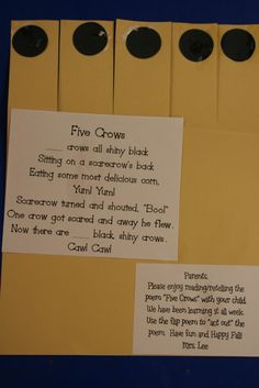 Mrs. Lee's Kindergarten: Five Crows All Shiny Black
