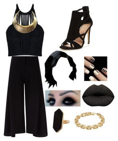 """""""Gold Black"""" by toplayfulforyou ❤ liked on Polyvore featuring Posh Girl, Victoria, Victoria Beckham, Jaeger and Calvin Klein"""