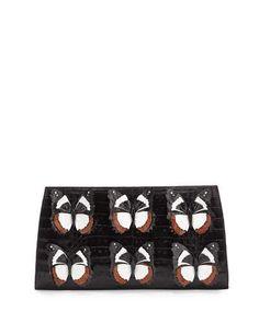 V31B5 Nancy Gonzalez Butterfly Crocodile Small Slicer Clutch Bag, Black/Multi