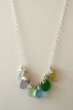 Sea Glass Jewelry Spring Colors Cluster by OceanCharmsSeaGlass, $64.00