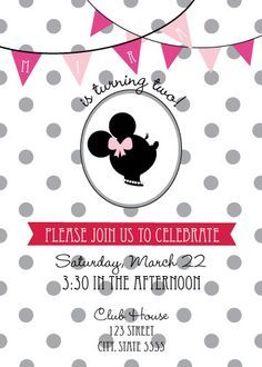 vintage minnie and mickey mouse birthday invitation