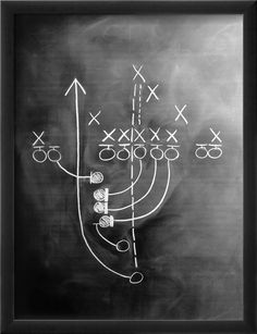 Football Play on Chalkboard.  Man Cave! have Mike draw out his faverite plays