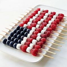 Berry Kabobs and other patriotic desserts perfect for Memorial Day weekend or your next outdoor party. Patriotic Desserts, Blue Desserts, 4th Of July Desserts, Patriotic Party, Holiday Desserts, Holiday Treats, Patriotic Recipe, Christmas Snacks, Easy Fourth Of July Recipe