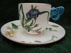 Minton Antique Butterfly Cup and Saucer 1840-1900