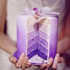 SUPERGORGEOUS purple ombre wedding cake- WANT! Maybe not for the actual wedding, but for a shower. Pretty Cakes, Beautiful Cakes, Amazing Cakes, Purple Cakes, Purple Wedding Cakes, Cake Wedding, Wedding Favours, Purple Party, Wedding Colors