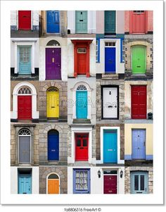 """""""A photo collage of 25 colourful front doors to houses and homes"""" - Art Print from FreeArt.com"""