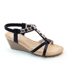 Another great find on #zulily! Black Floral Jewel Wedge #zulilyfinds