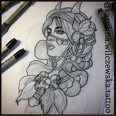 Sketch Tattoo Design, Tattoo Sketches, Tattoo Drawings, Body Art Tattoos, Tattoo Designs, Goddess Tattoo, Dark Art Drawings, Tattoo Project, Tattoo Flash Art