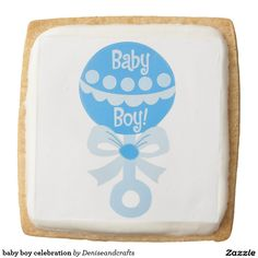 baby boy celebration square shortbread cookie